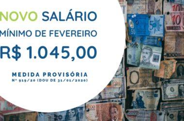 NOVO SALÁRIO MÍNIMO de Fevereiro | R$ 1.045,00